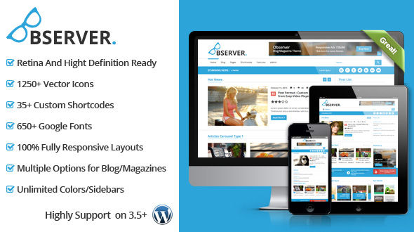Observer Blog-Magazine WordPress Theme