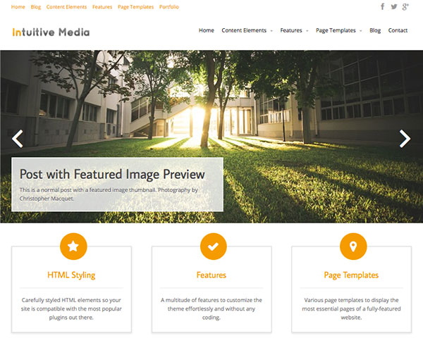 Intuition new free WordPress Themes