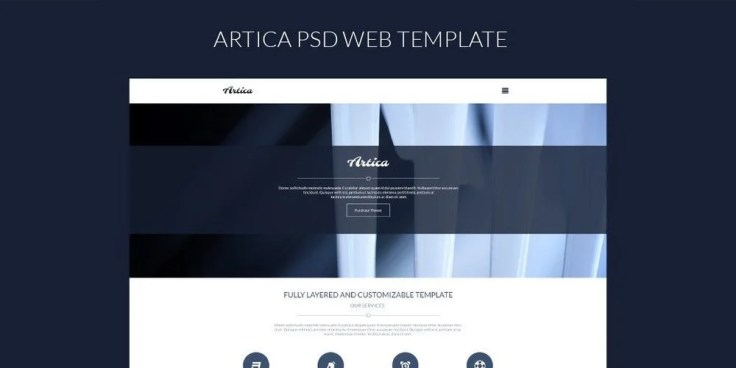 Artica One Page Web Template PSD