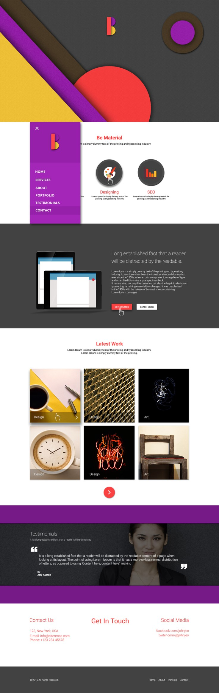 Be Material – One Page Material Template PSD