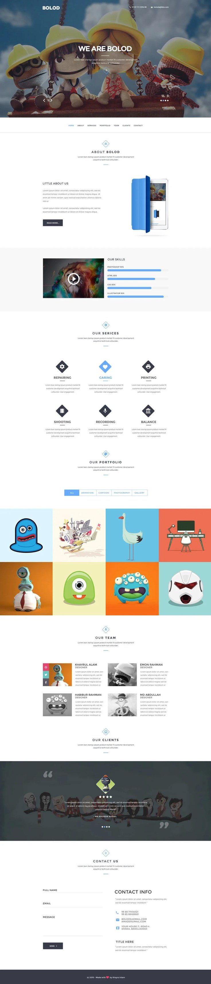 Bolod Free One Page Web Template PSD
