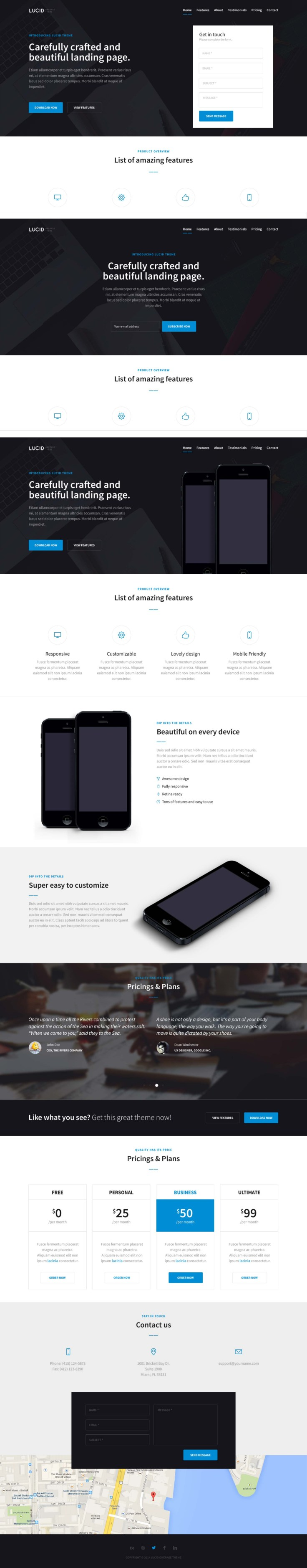 Lucid One Page Web Template PSD