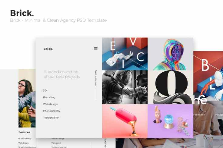 Brick - Minimal & Clean Agency PSD Template