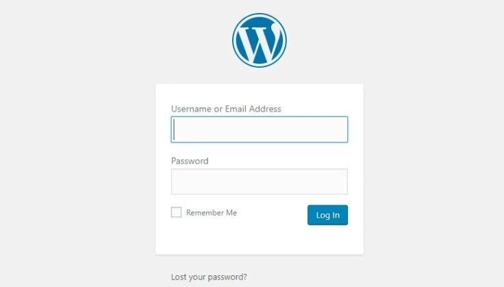 How to start a WordPress blog - WordPress Login Screen