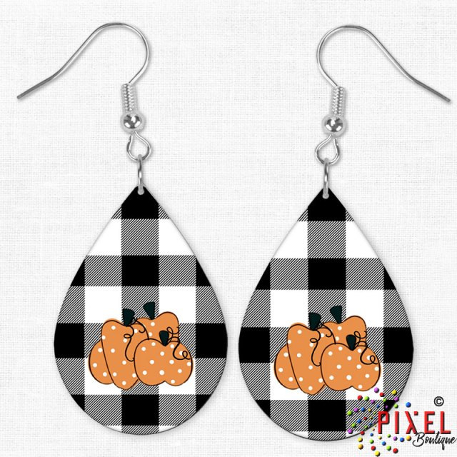 Pumpkin Buffalo Plaid Earrings