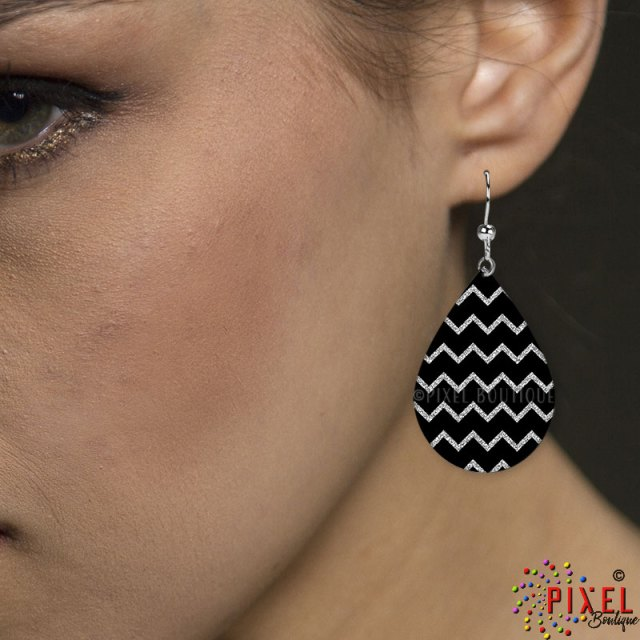 Silver Glitter Chevron Earring Small earring on Model