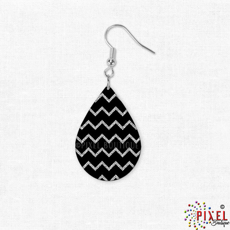 Silver Glitter Chevron Earrings showing small size