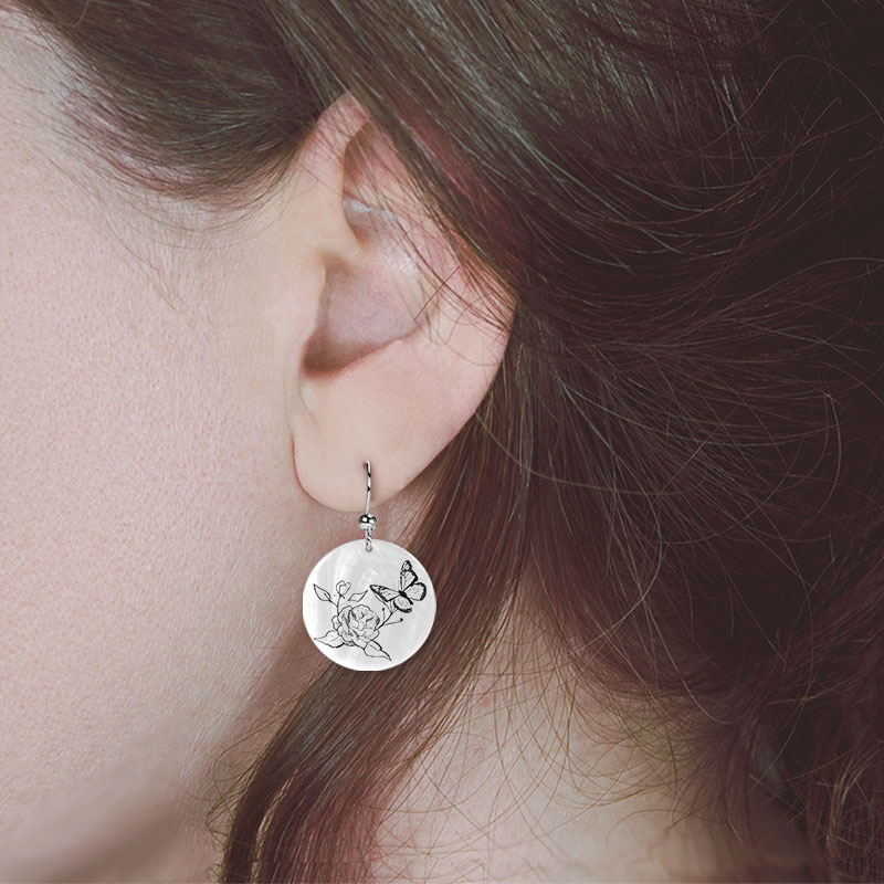 Butterfly and Rose Earring on model