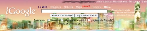 Ejemplo que muestra un encabezado de iGoogle