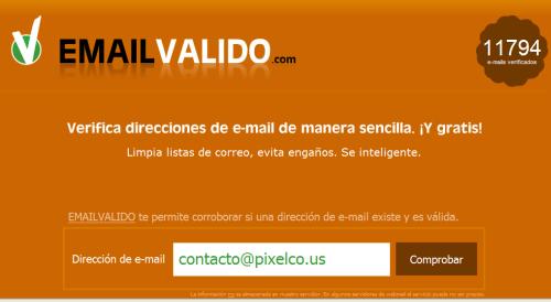 Pantalla rincipal de Email Valido