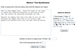 Markov Text Synthesizer - Editor textos Interfase Captrua de pantalla