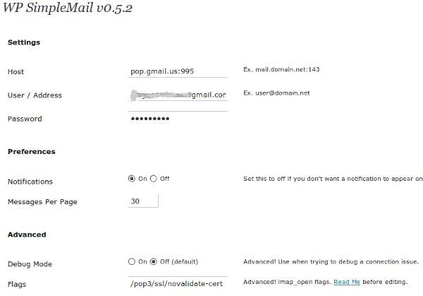 WP SimpleMail - Configuración