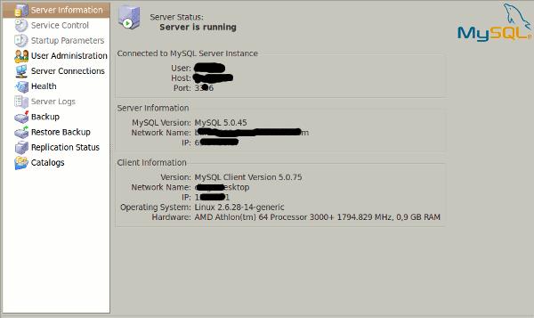MySQL Administrator - Información del servidor