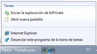 IE - Iniciar en modo InPrivate desde la barra de tareas de Widnows 7