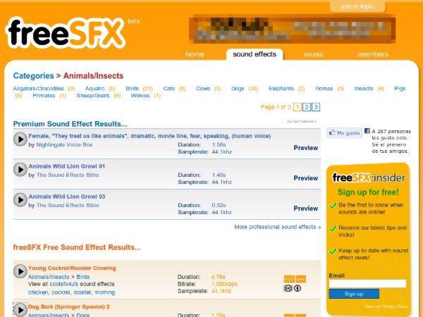 freeSFX - interfaz