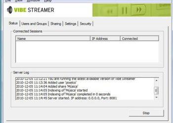 Vibe Streamer - interfaz - aplicación para Windows