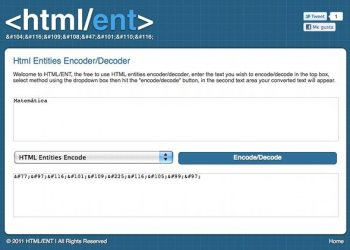 HTML/ENT - herramienta online para entidades HTML