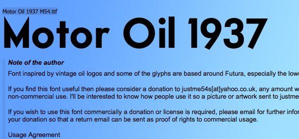 Motor Oil - free font