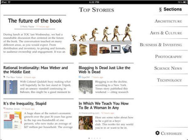 Zite Personalized Magazine lector de noticias para el iPad y el iPhone