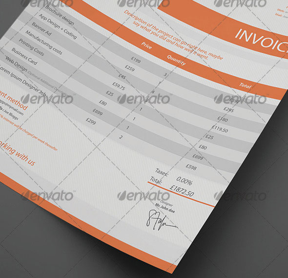 20 Beautifully Designed InDesign Invoice Templates   Pixel Curse Clean Customisable Invoice Template