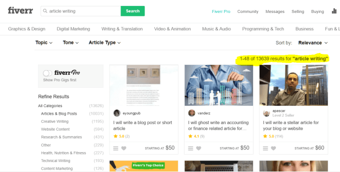 Fiverr Article writing gigs Search results.