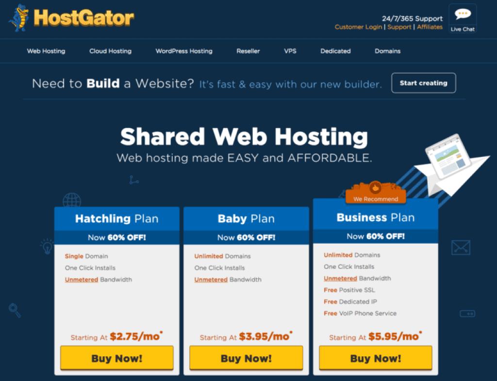 Hostgator shared web hosting plans