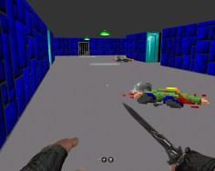 Die retronostalgische Pixelgrafik wird von den hochauflösenden Händen des Protagonisten kontrastiert.