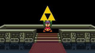 "Link hebt das Triforce in ""The Legend of Zelda: A Link to the Past"""