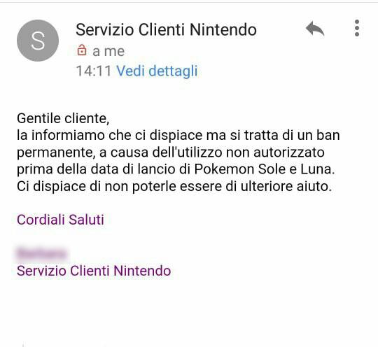 La comunicazione ufficiale del Servizio Clienti di Nintendo of Europe.