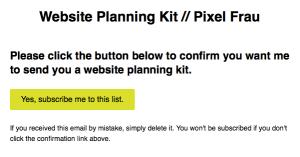 website planning kit confirmation