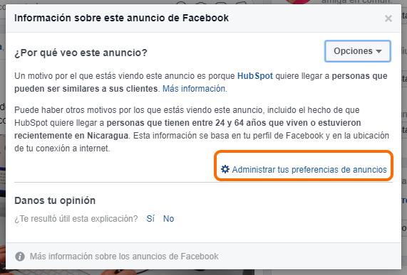 Administrar tus preferencias de anuncios en Facebook