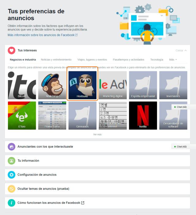 Tus preferencias de anuncios en Facebook