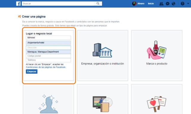 Selecciona la categoría de página según tu negocio en Facebook