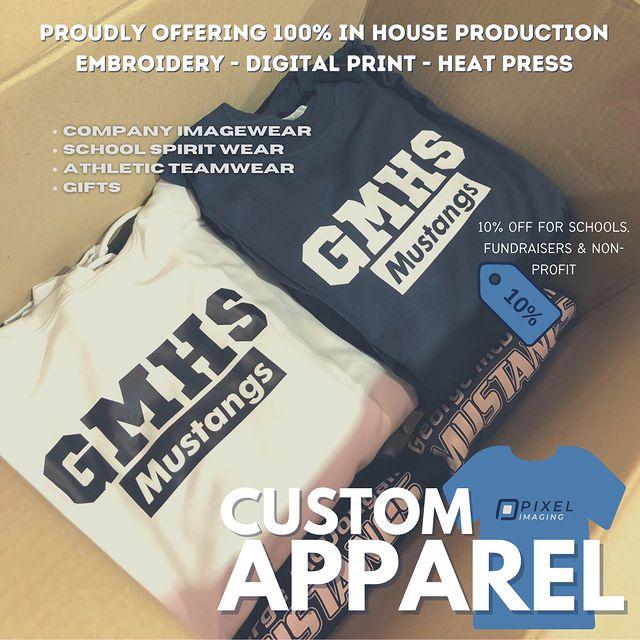Custom-printed vinyl heat transfer sweatshirts and sweaters for a Calgary high school