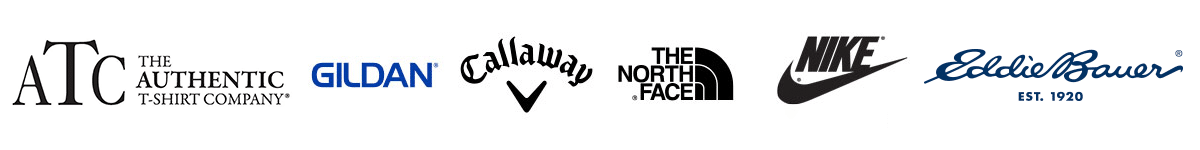 Logos of some of the custom apparel brands offered by Pixel Imaging: The Authentic T-Shirt Company, Gildan, Callaway, The North Face, Nike, Eddie Bauer