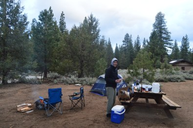 Getting the campsite ready for the night