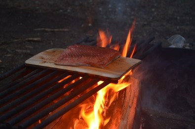 First night's roasted salmon dinner