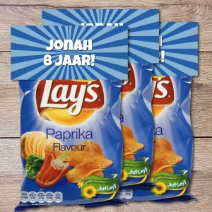 Blauwe traktatie label chip of popcorn