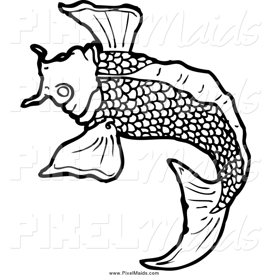Clipart Of A Black And White Koi Fish Swimming By