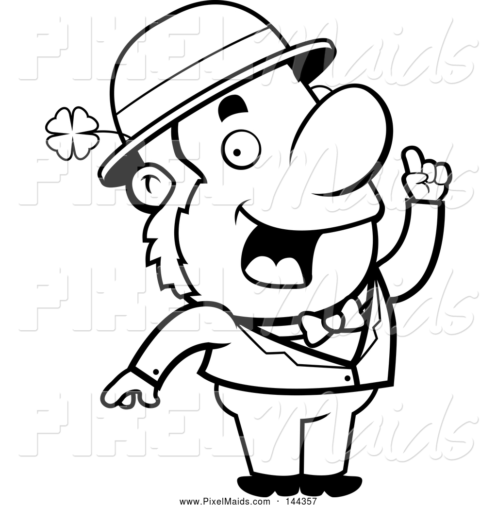 Clipart Of A Black And White Leprechaun With An Idea By