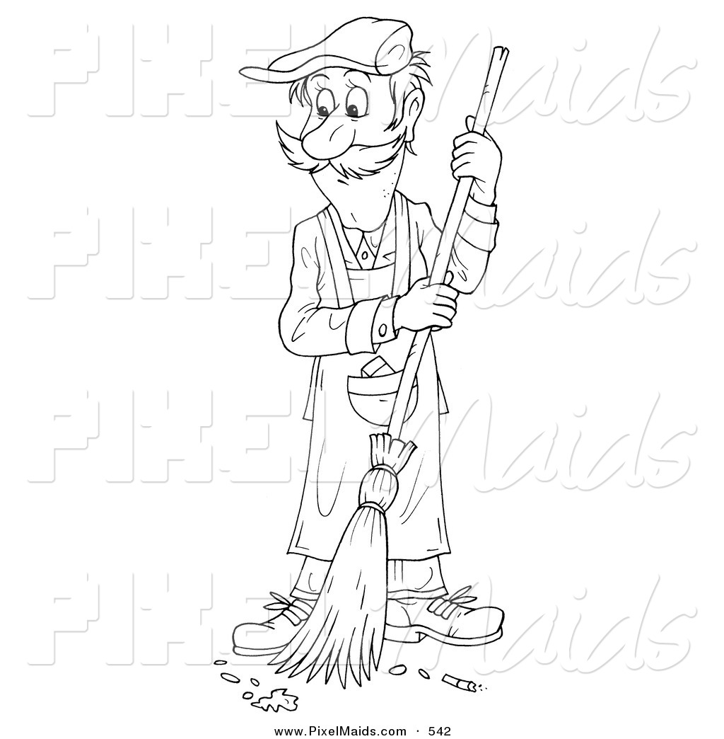 Clipart Of A Coloring Page Outline Of A Janitor Man