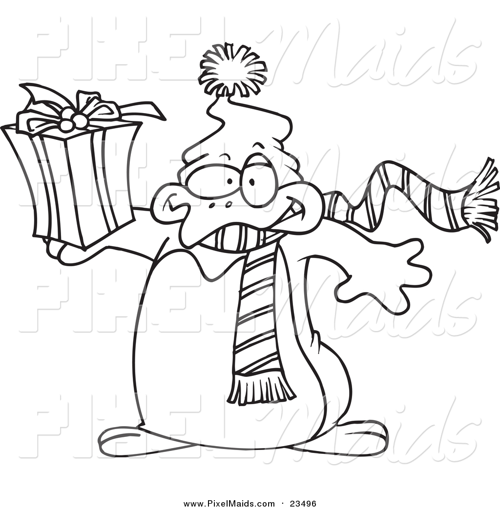 Clipart Of A Lineart Christmas Penguin Holding A T By