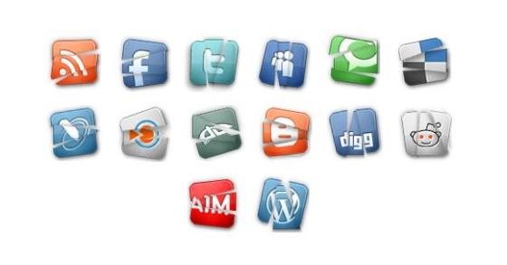 Broken Glossy Social Media Icons