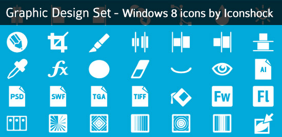 windows8 icons graphic design set