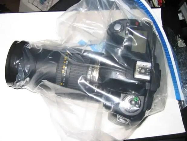 dslr camera in a zip lock bag