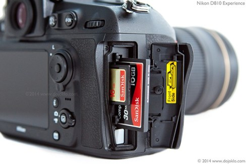 Detail of the Nikon D810, showing the SD and CF card slots.