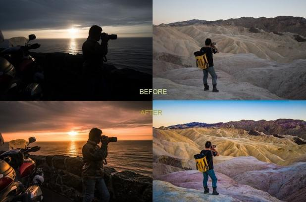 Nikon D7500 raw before and after