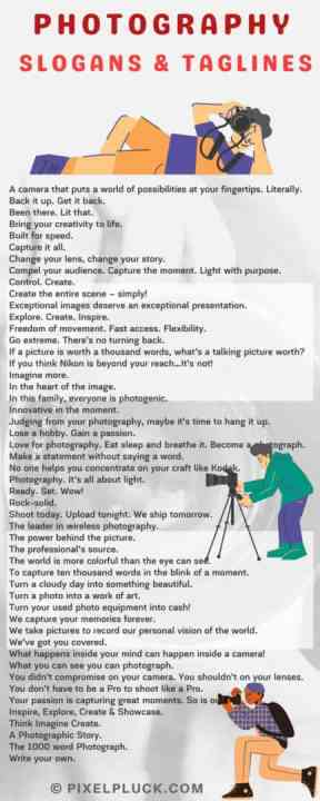 Top 50 Photography Slogans and Taglines for Professionals infographics