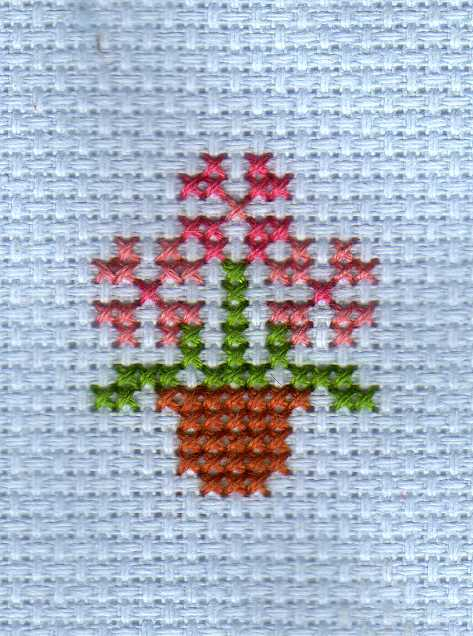 flower pot cross stitch