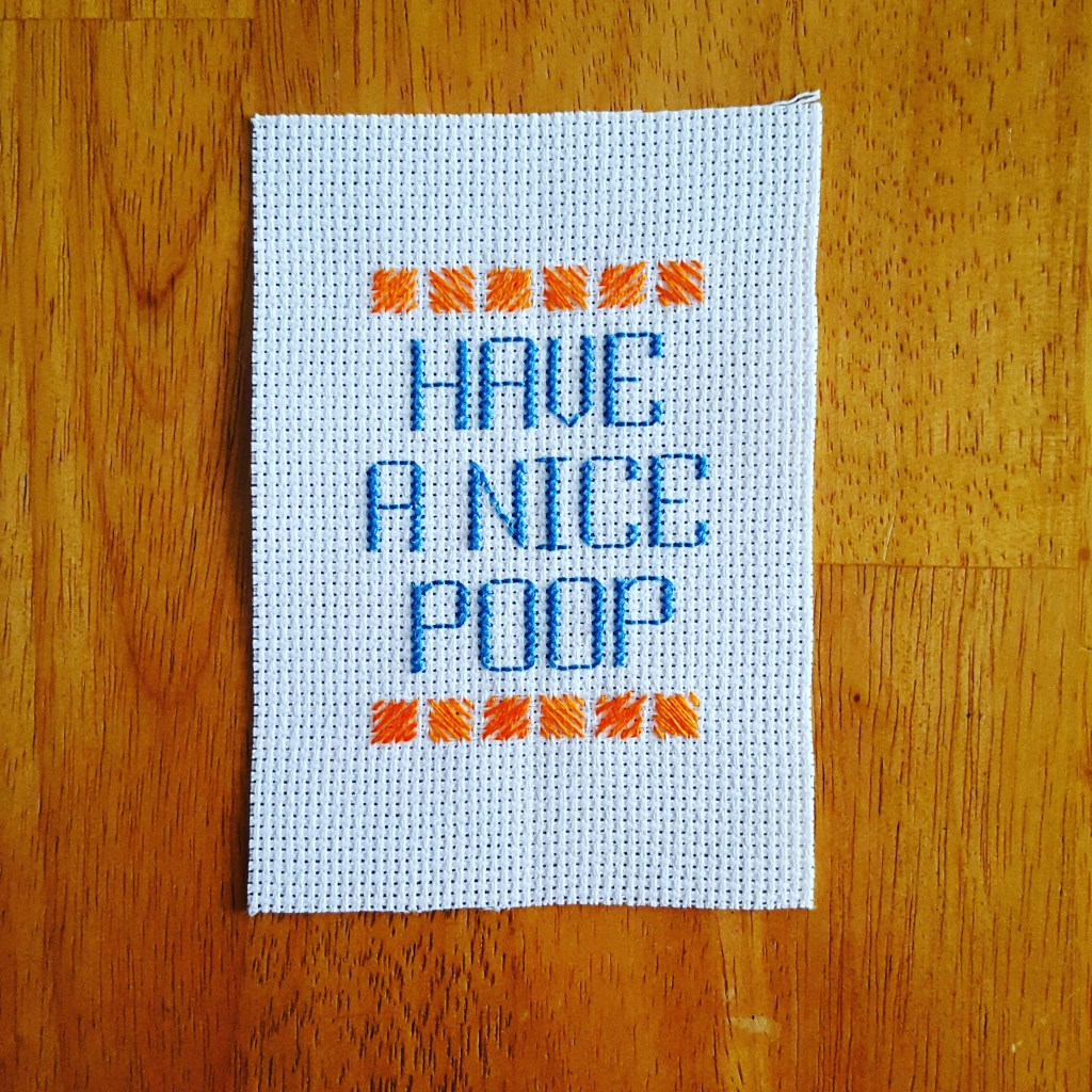 Have a nice poop cross stitch